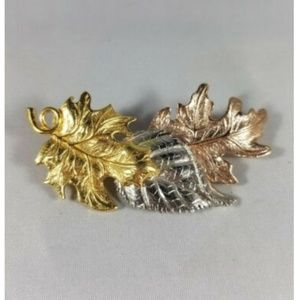 Vintage Avon Mixed Metal Leaves Brooch Fall Nature